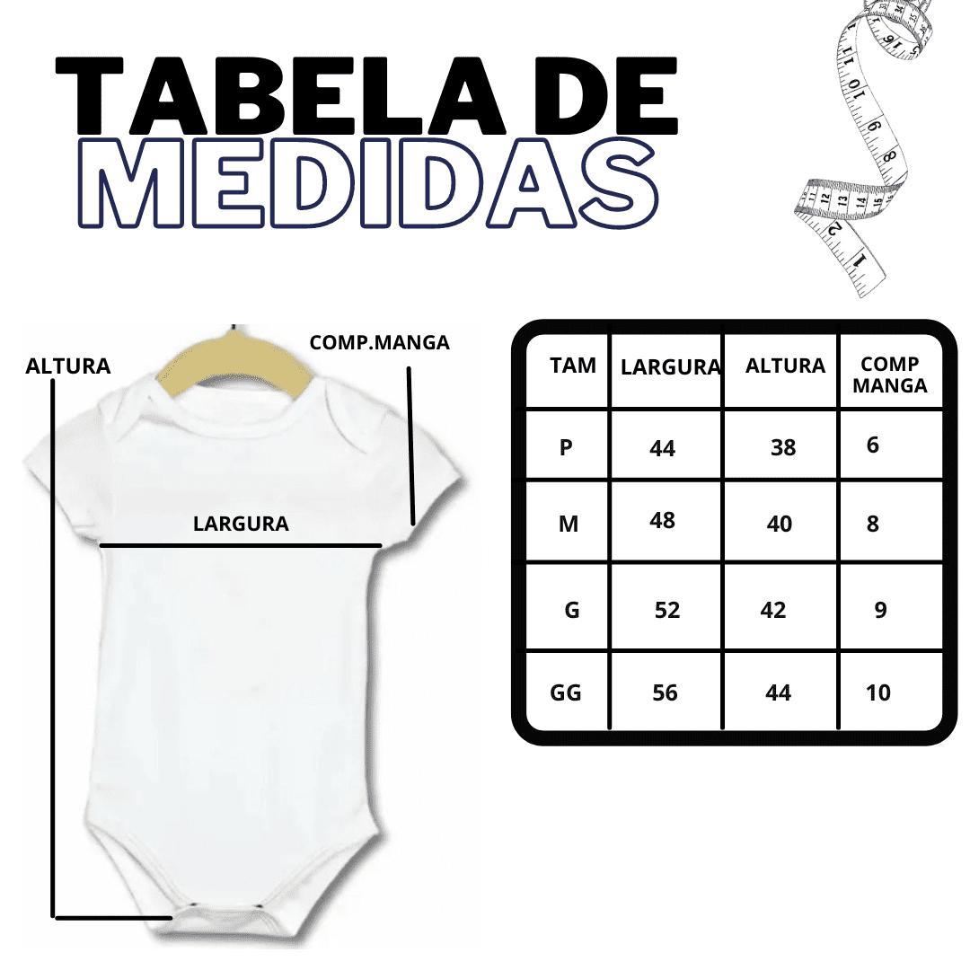 KIT 3 Body Manga Curta Infantil de Bebê - Poliéster