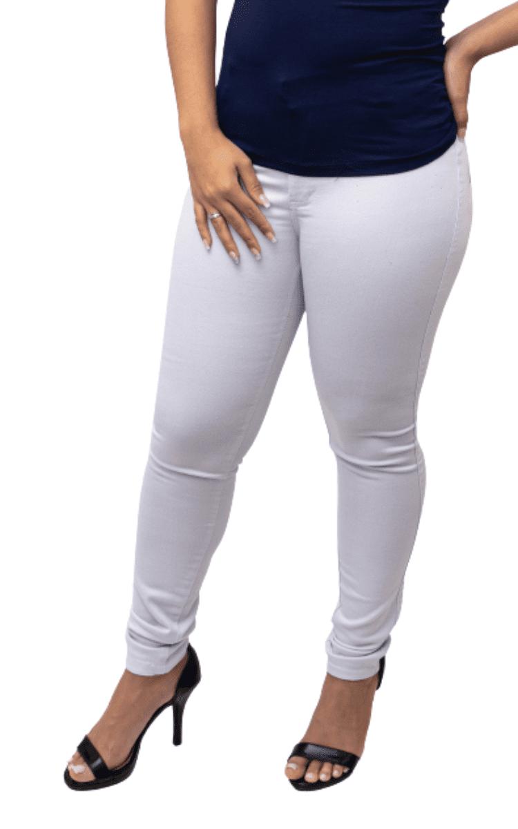 KIT 3 Calça Jeans Lycra Branca Skiny Cós Médio