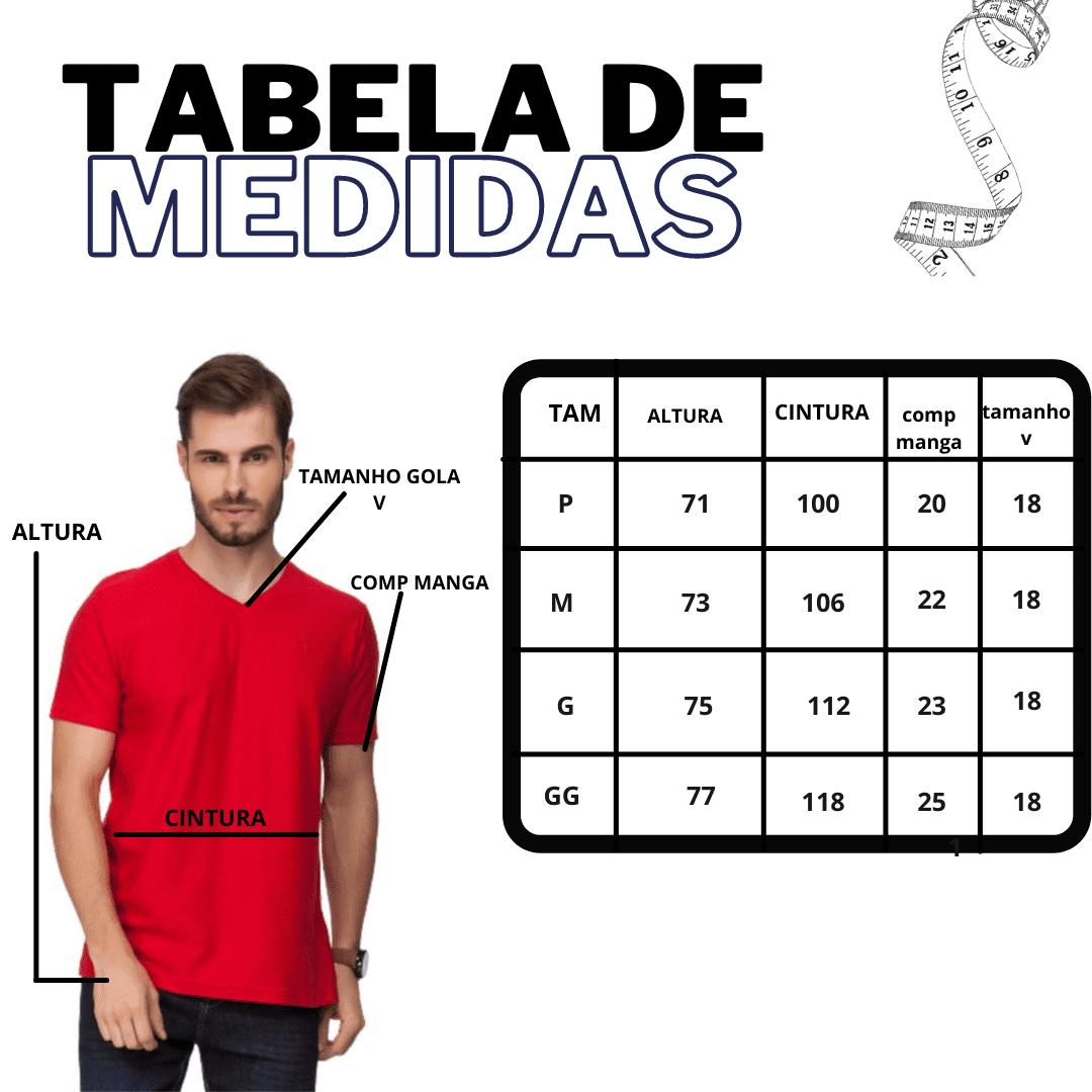 Kit 3 Camiseta Masculina Gola V PRETO