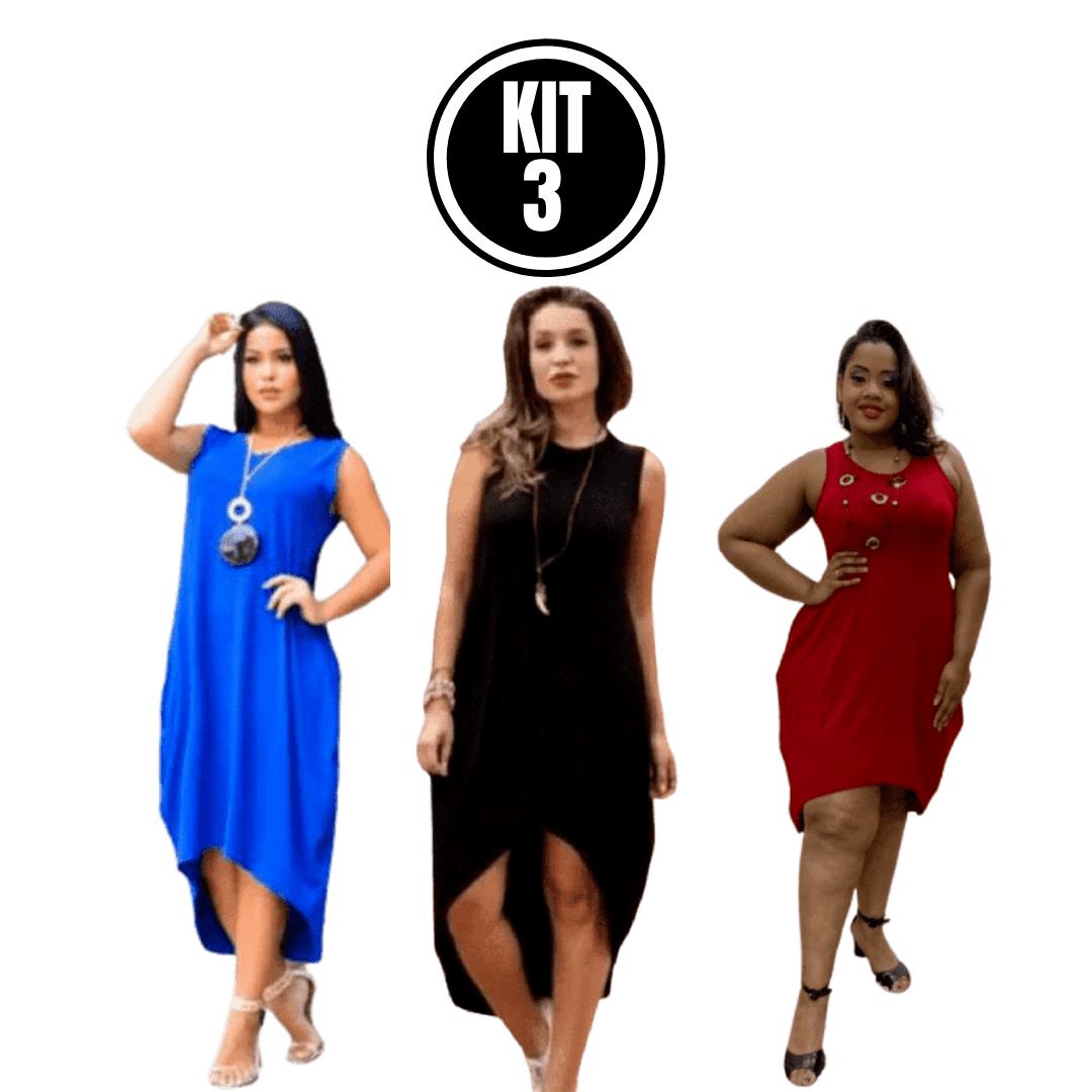 Kit 3 Vestido Mullet Regata Saruel Plus Size Moda Evangelica Lindo