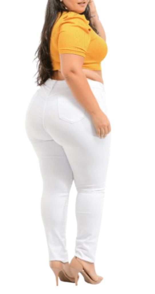 Kit 5 Calça Jeans Extra Lycra Branca Skini Cós Médio