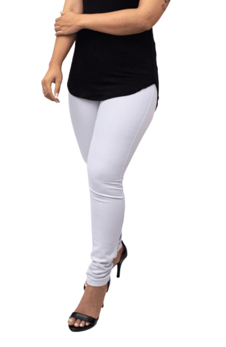 Kit 5 Calça Jeans Lycra Branca Skini Cós Médio