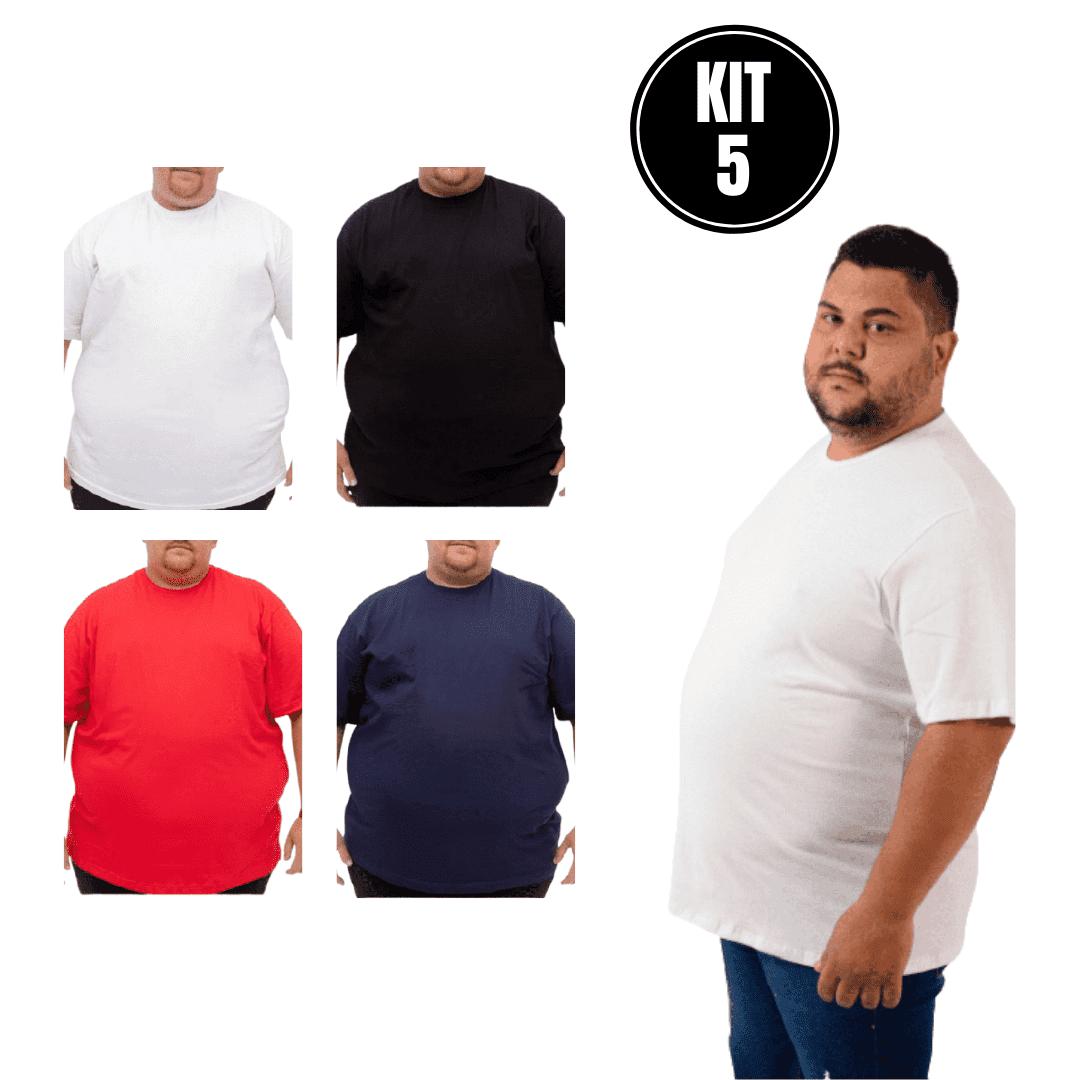 Kit 5 Camisetas extra grande G4 G5 G6 gola careca