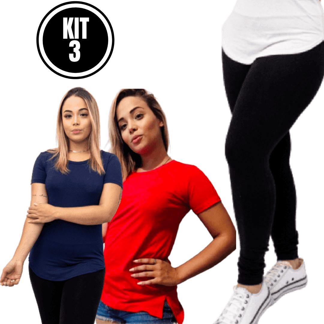 Tshirts  Academia Long Line Conjunto Com Leg Preta  Kit 3