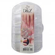 Caixa com 120 Tips transparentes D&Z - Formato Bailarina