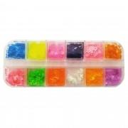 Kit com borboletinhas néon para decoração de unha - 12 cores