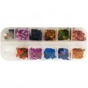 Kit Glitter Formato Folha Para Decoração - 12 Cores