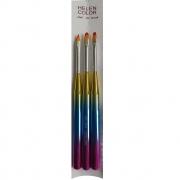 Kit Pincel Multicolorido Helen Color - 3 Unidades e 3 formatos