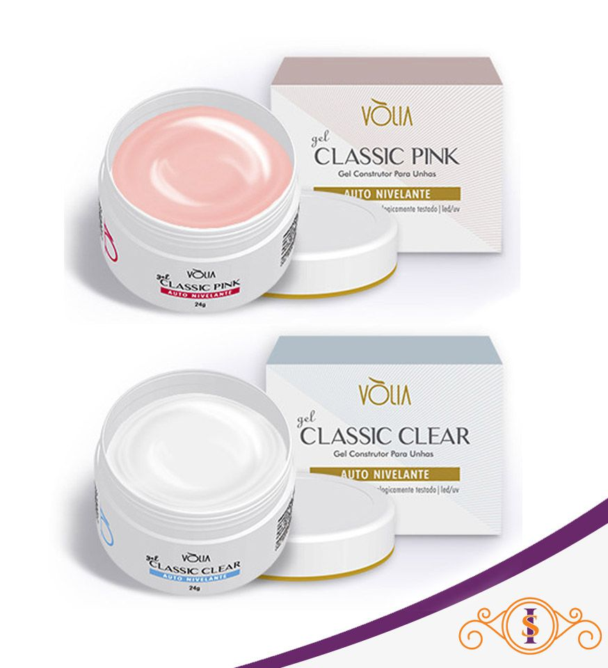 Kit 2 Géis Classic Vòlia Pink e Clear