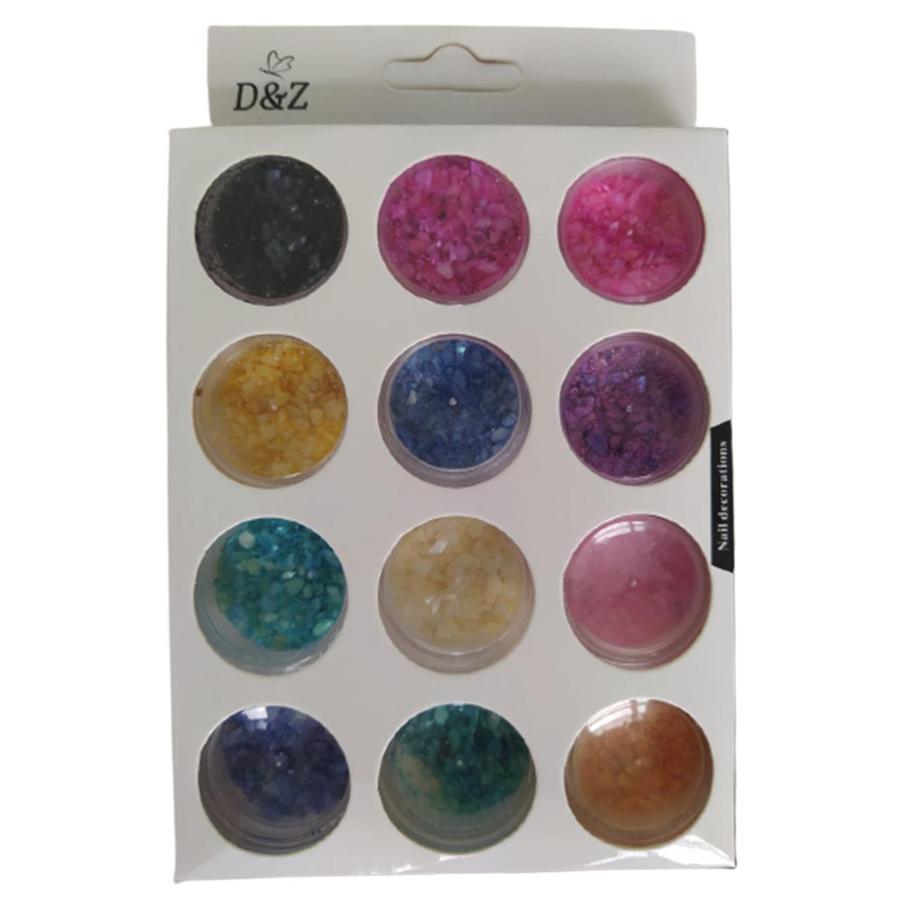 Kit com 12 cores de Madrepérola Picada D&Z