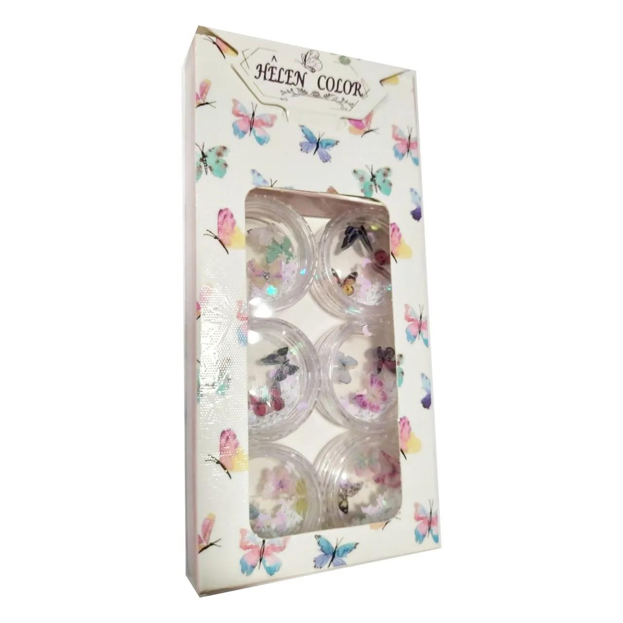 Kit com borboletinhas de acrílico para decoração - 6 unidades - Helen Color