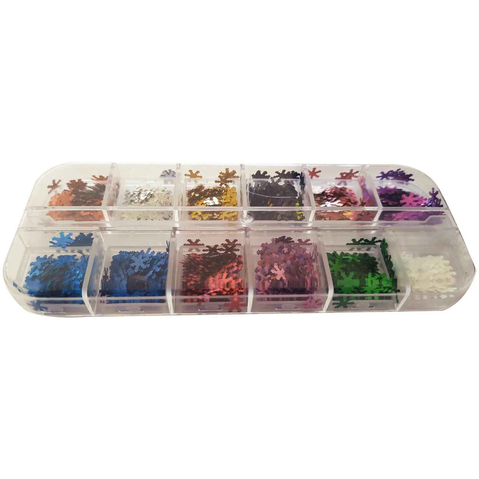 Kit com Glitter Floco de Neve para Decoração - 12 cores