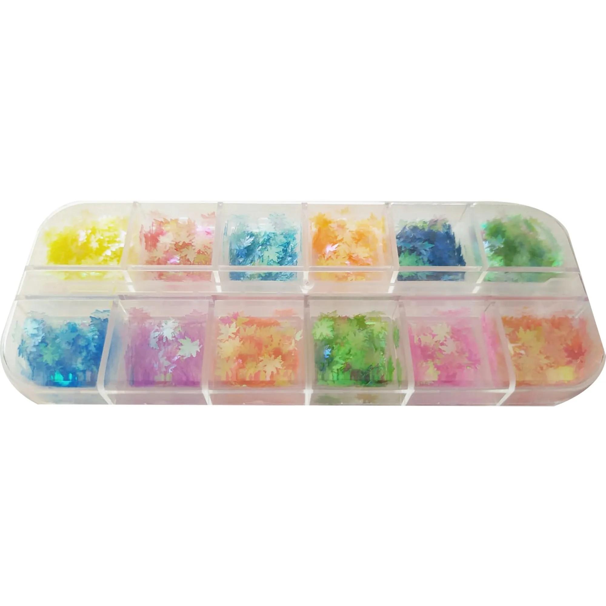 Kit Glitter Formato Folha Néon Para Decoração - 12 Cores