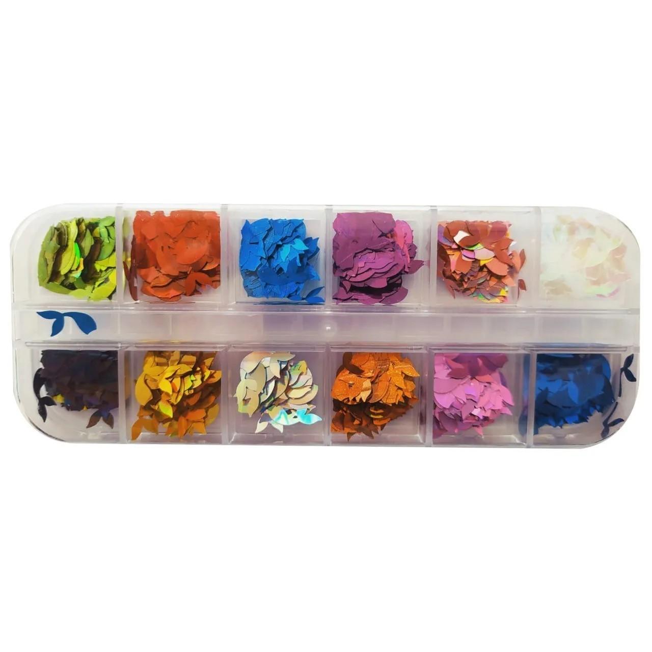 Kit Glitter Formato Golfinho Para Decoração - 12 Cores