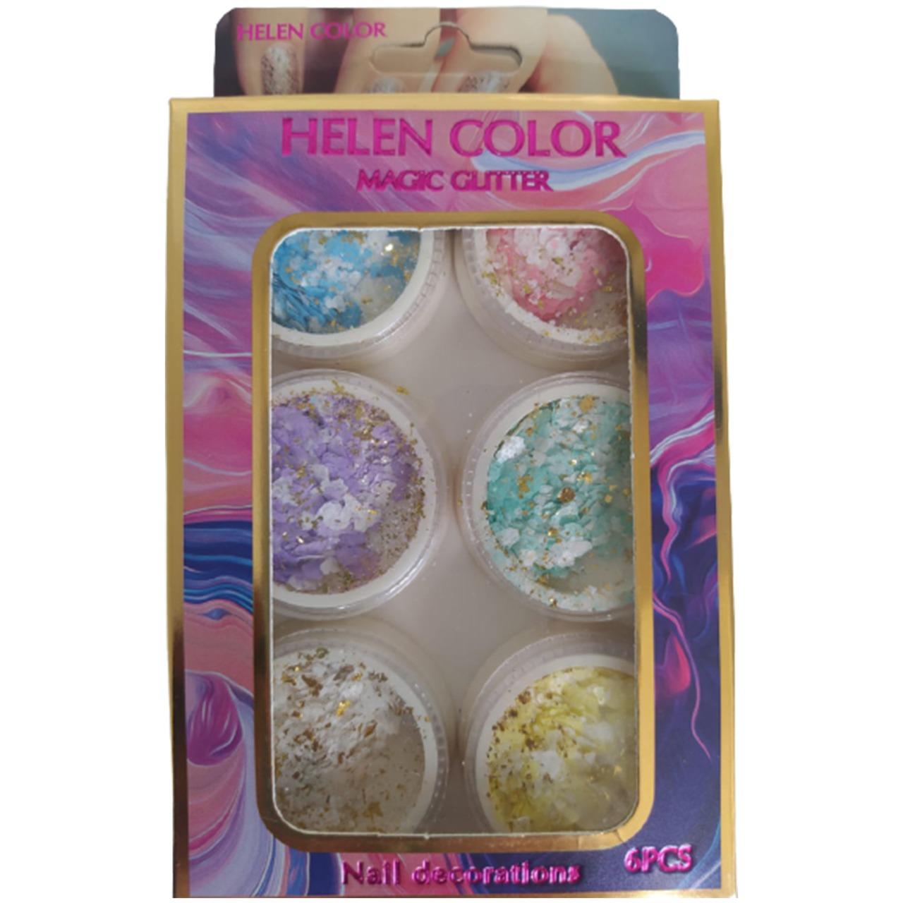 Kit Glitter Papel Com Fio de Ouro Helen Color - 6 unidades