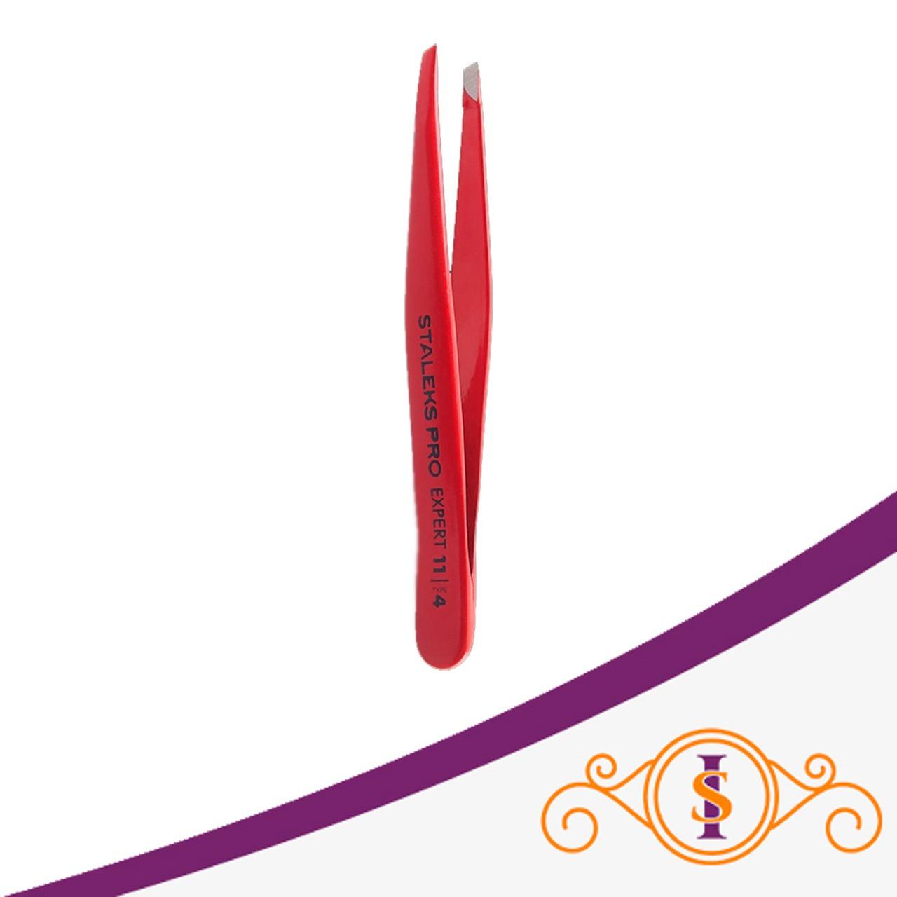 Pinça de Sobrancelha Staleks Pro - Série Expert 11 - Chanfrada - TE-11-4 - Vermelha