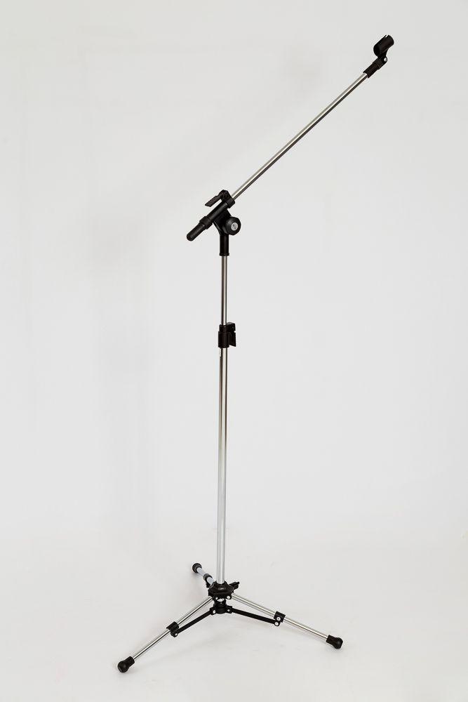 PEDESTAL P/ 01 MICROFONE S/ HASTE TELESCÓPICA CROMADO - PMV-01-C SHT