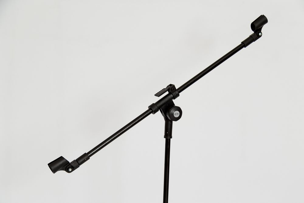 PEDESTAL P/ 02 MICROFONES S/ HASTE TELESCÓPICA PRETO - PMV-02-P SHT