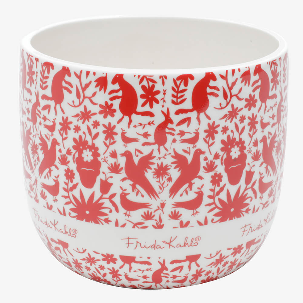 Cachepot de Cerâmica Frida Kahlo Red Birds And Flowers Branco