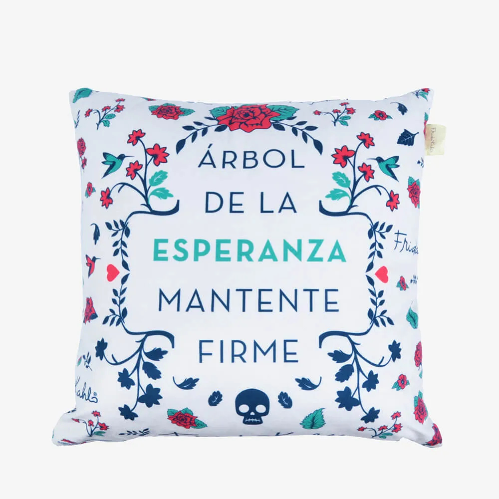 Capa de Almofada Poliéster Frida Kahlo Esperanza Branco 45X45Cm
