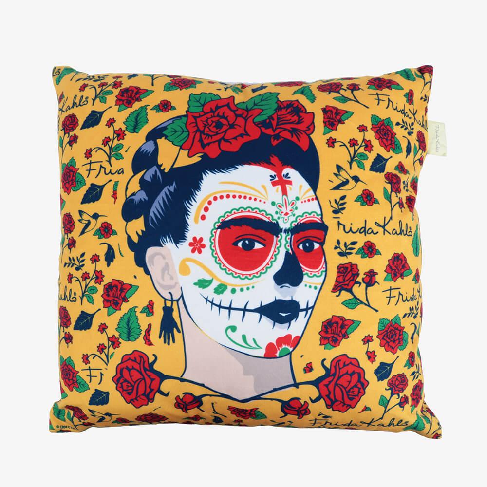 Capa de Almofada Poliéster Frida Kahlo Face And Flowers Amarelo 45X45Cm