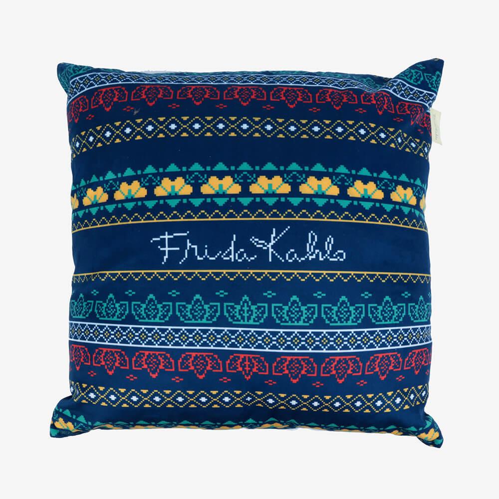 Capa de Almofada Poliéster Frida Kahlo Pixel Azul 45X45Cm