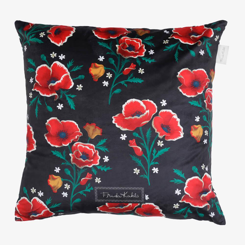 Capa de Almofada Poliéster Frida Kahlo Red Flowers Preto 45X45Cm