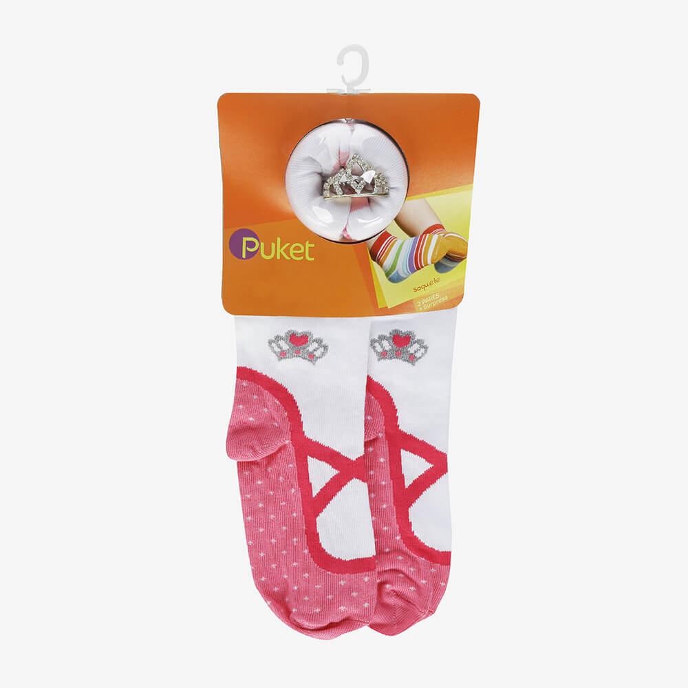 Conjunto 2 Meias De Princesa Soquete Kids com Coroa - Puket