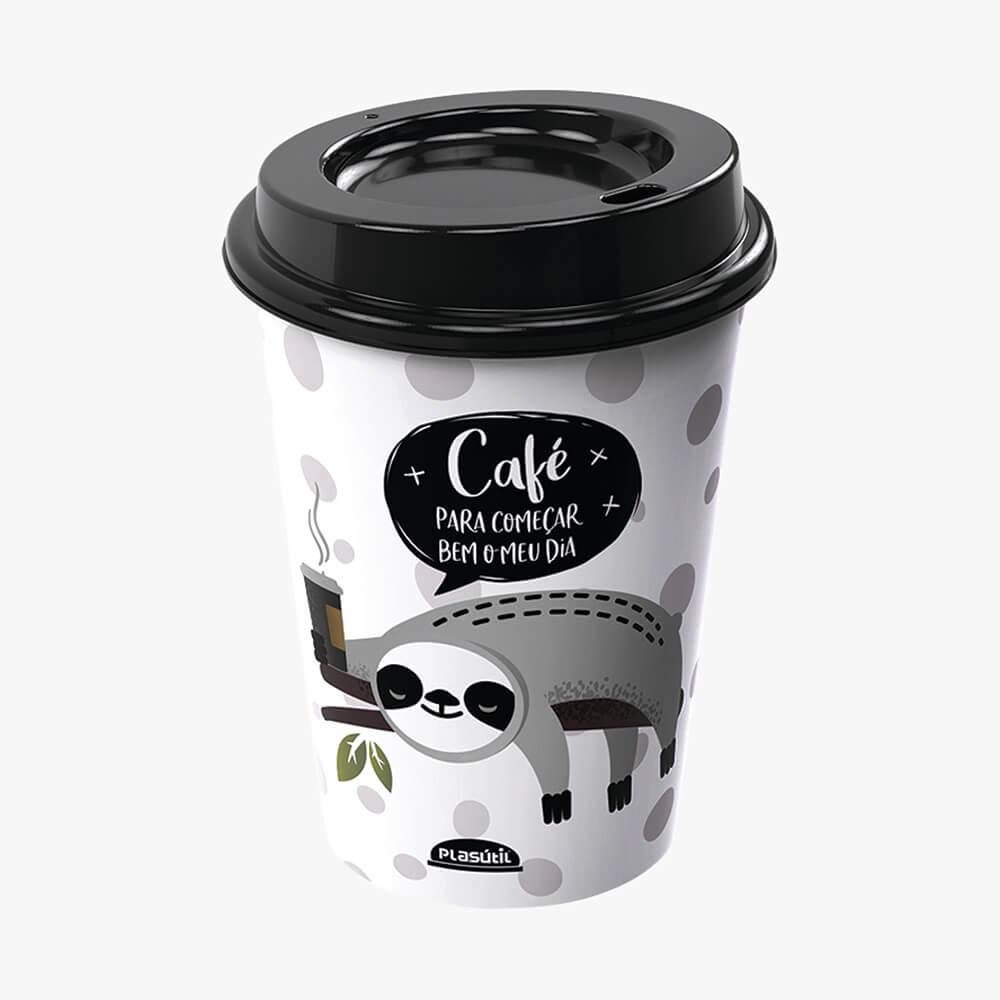 Copo C/ Tampa Bico Café Bom Dia 320Ml - Plasútil