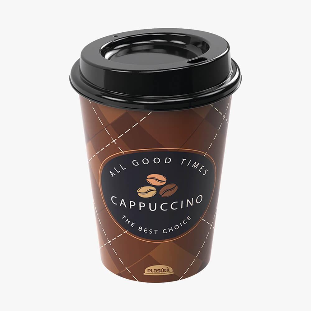 Copo C/ Tampa Bico Cappuccino 320Ml - Plasútil