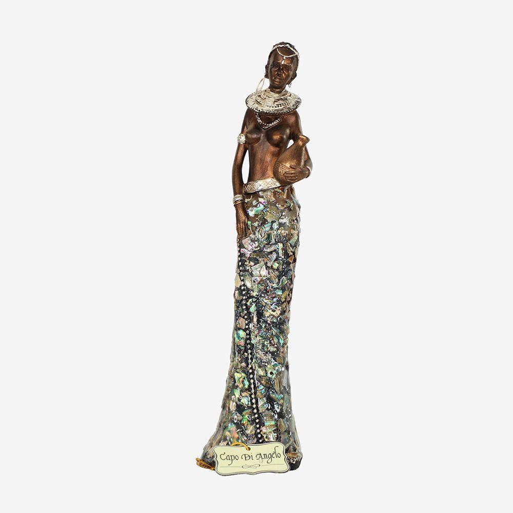 Estátua Africana de Poliresina C/Pote  28 cm