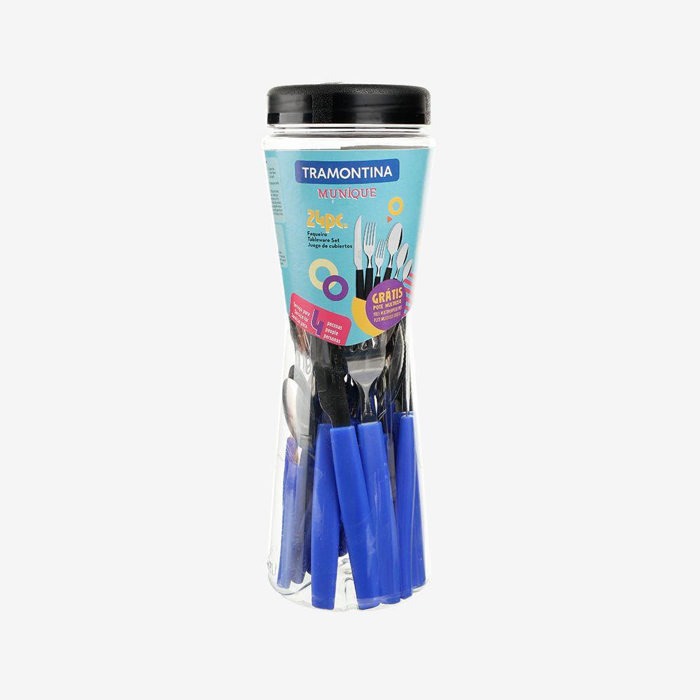Faqueiro 24 Pcs Munique Azul - Sortidos Com Lâminas De Aço Inox - Tramontina