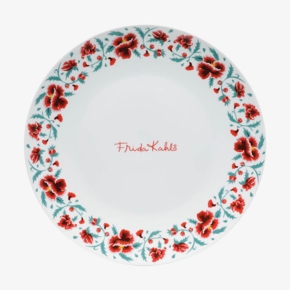 Jogo 2 Pratos Porcelana Jantar Frida Kahlo Flowers Signature Branco