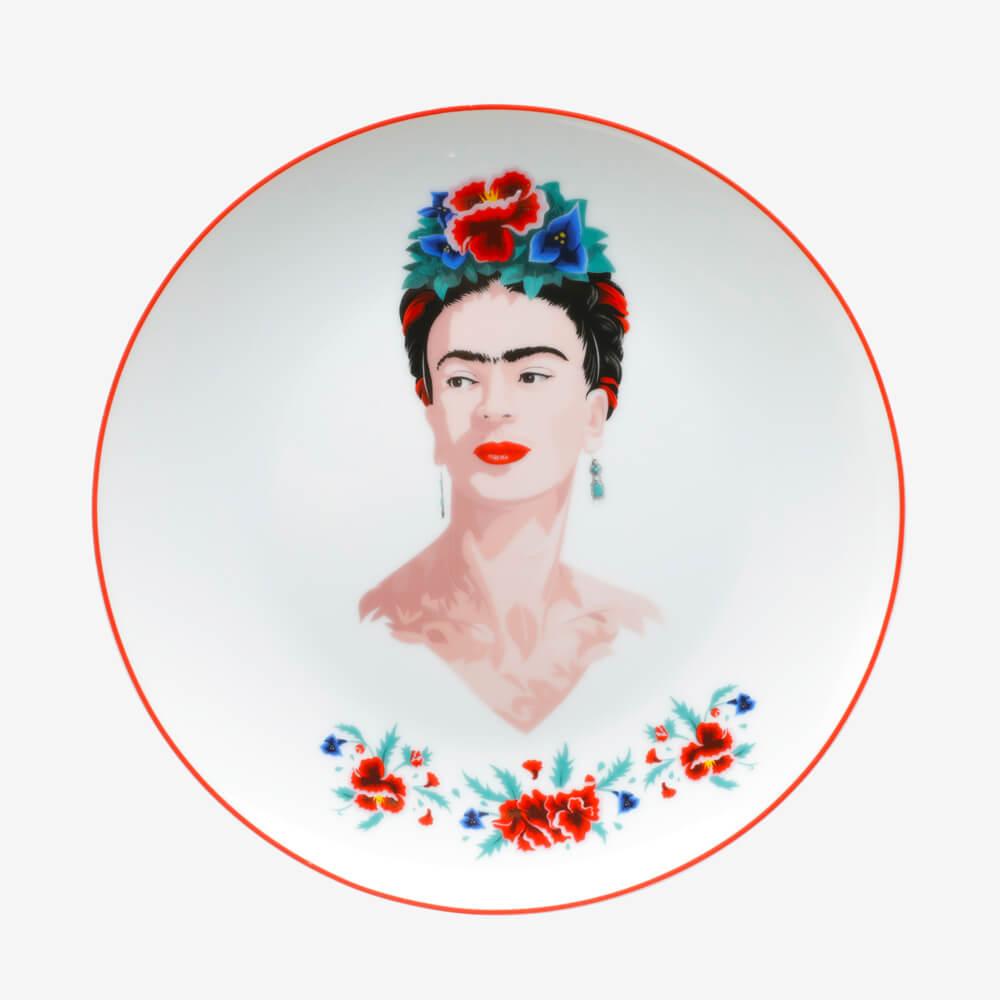 Jogo 2 Pratos Porcelana Sobremesa Frida Kahlo Frida Body And Flowers Branco