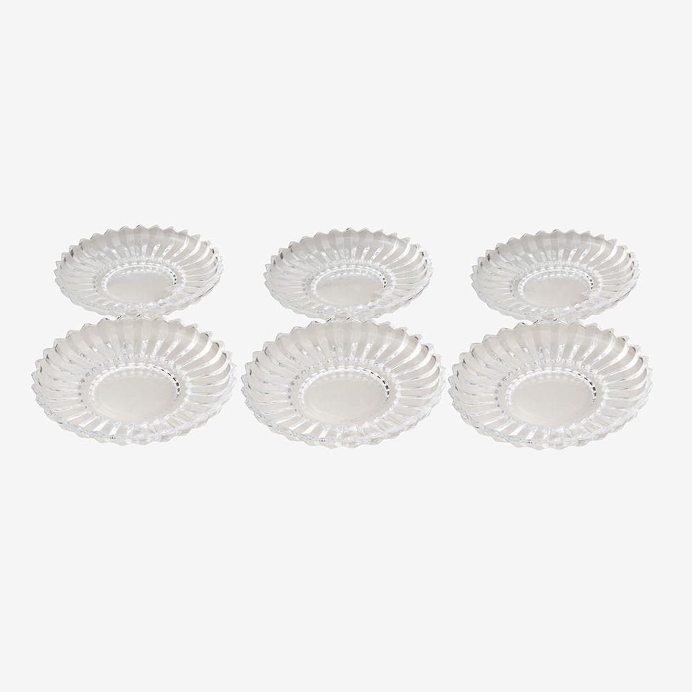 Jogo de pratos para sobremesa de vidro 6 peças