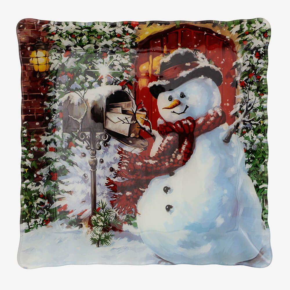 Jogo de pratos quadrados Boneco de Neve 3 peças - Coleção Natal