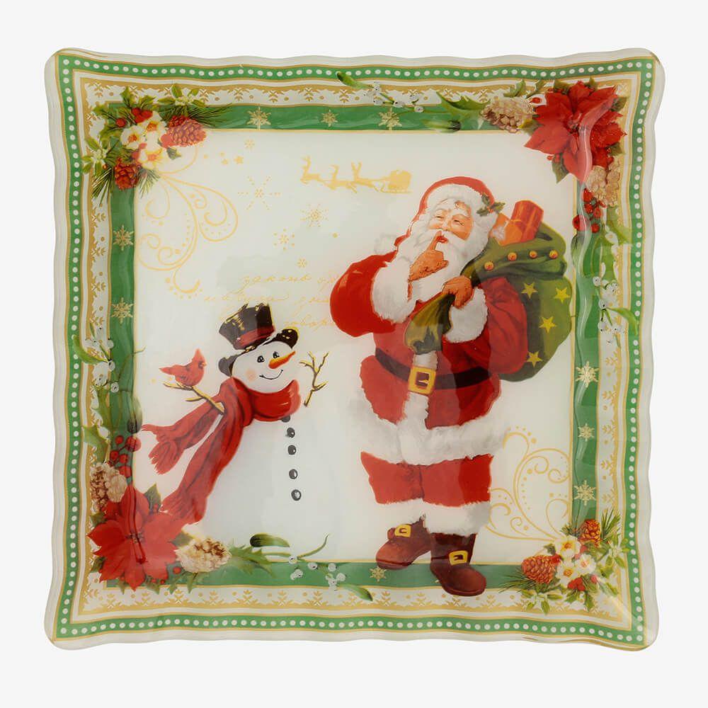 Jogo de pratos quadrados Natal 3 peças - Coleção Natal