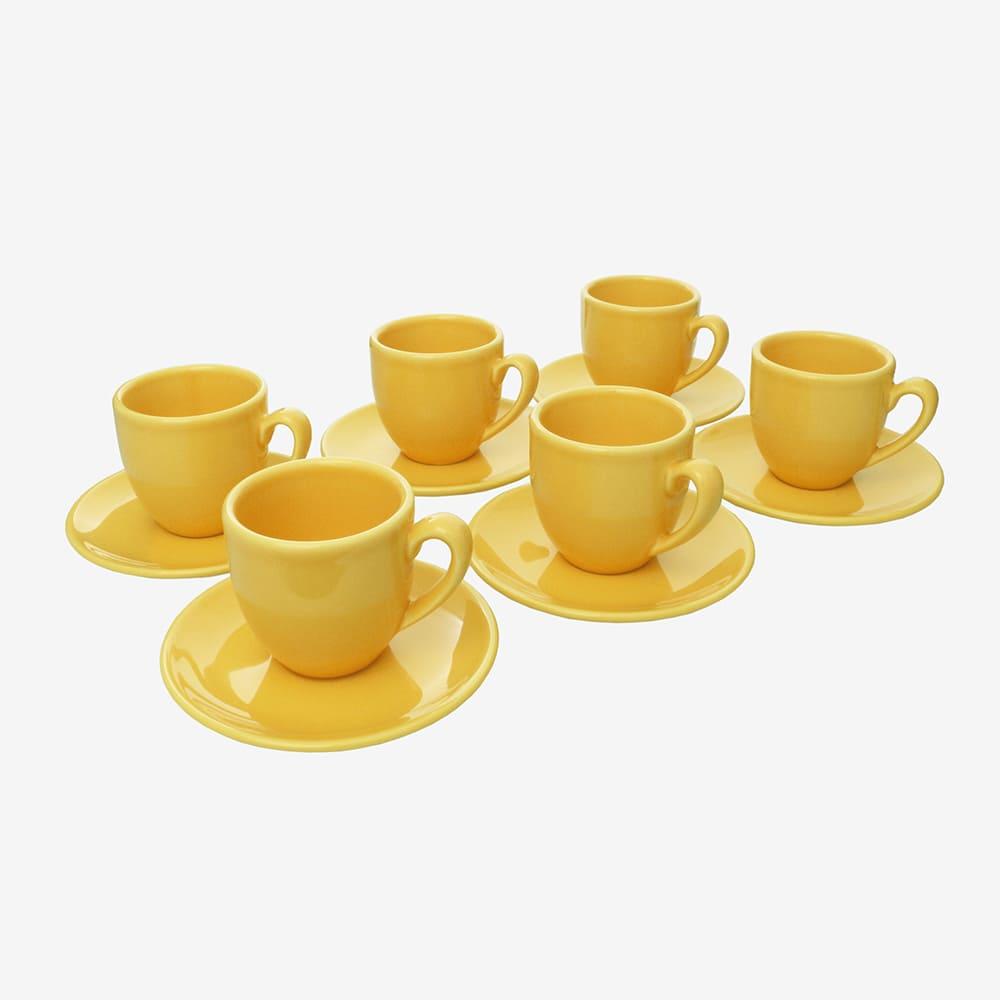 Jogo De Xícaras De Café C/ Pires Amarelo 6 Peças Vista Alegre