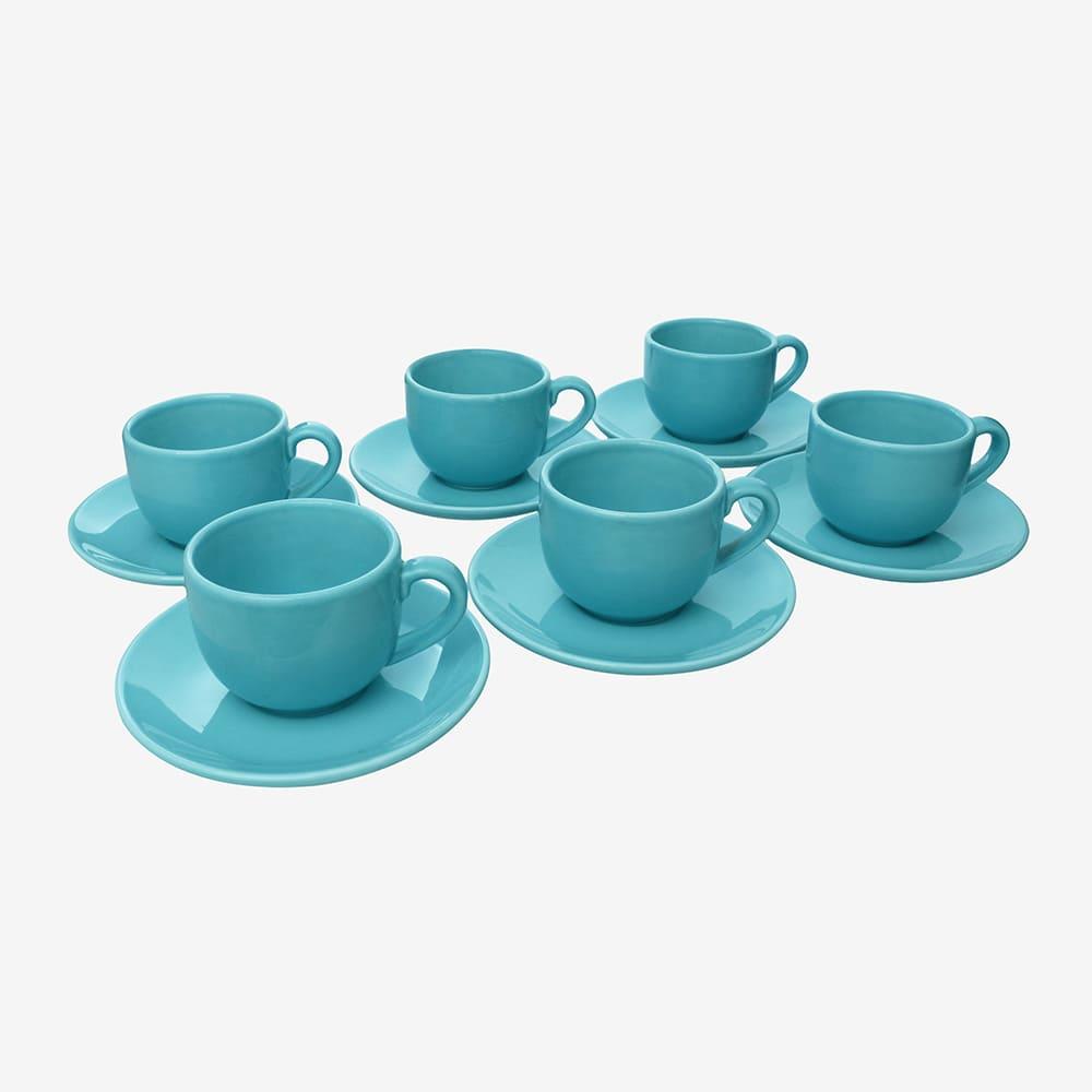 Jogo De Xícaras De Café C/ Pires Azul 6 Peças Vista Alegre