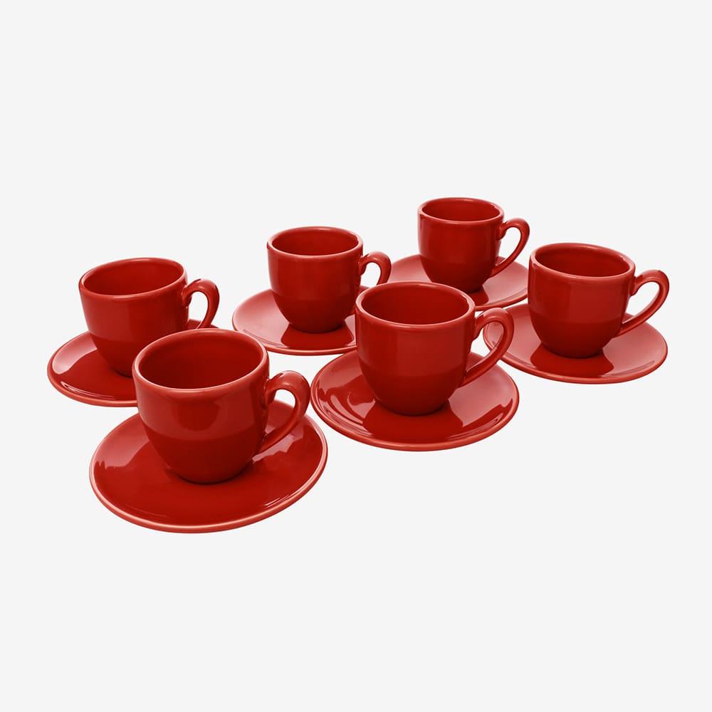 Jogo De Xícaras De Café C/Pires Vermelho 6 Peças Vista Alegre