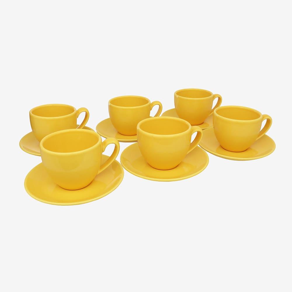 Jogo De Xícaras De Chá C/ Pires Amarelo 6 Peças Vista Alegre