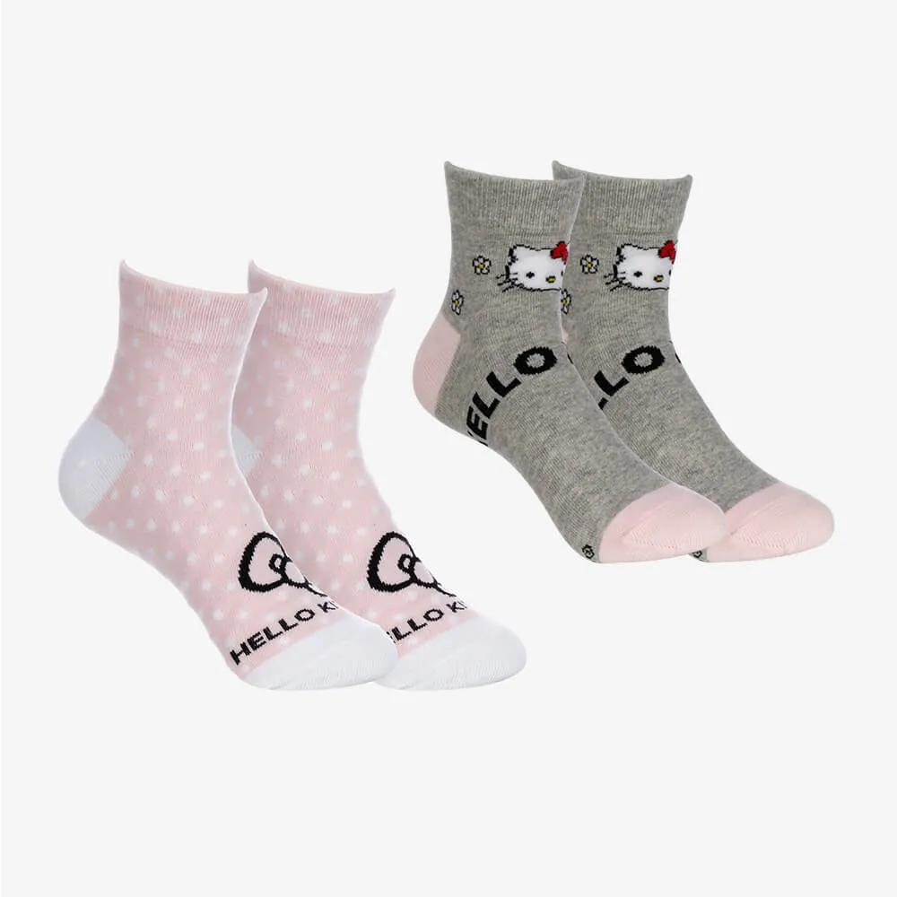 Kit 2 Pares de Meias Cano Médio Hello Kitty - Cinza e Rosa - Tamanho 34 ao 38