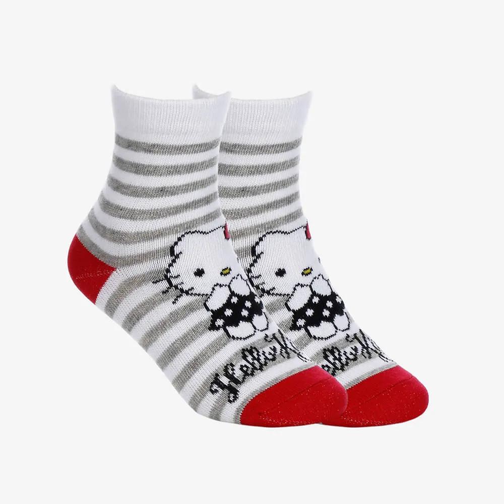 Kit 2 Pares de Meias Infantis Femininas Cano Longo Hello Kitty - Branco com Listras - Tamanho 23 ao 27
