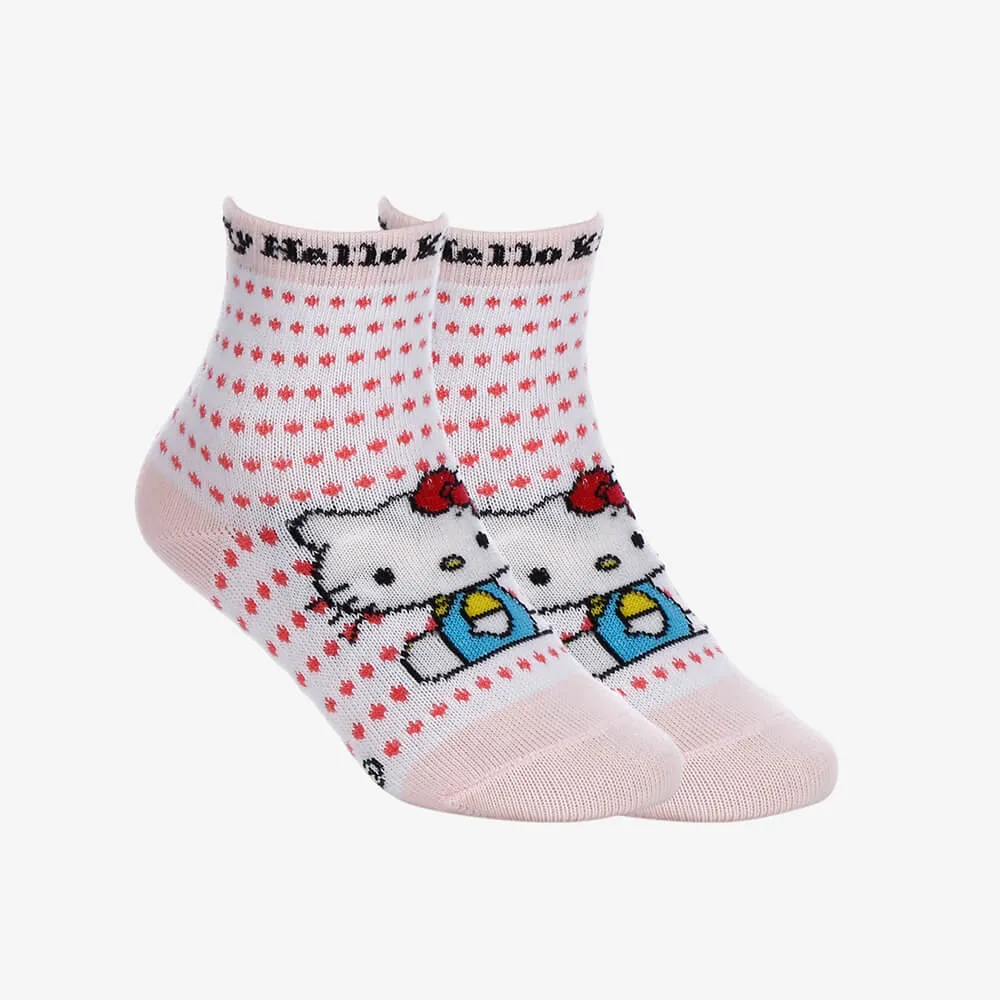 Kit 2 Pares de Meias Infantis Femininas Cano Longo Hello Kitty - Branco e Rosa -Tamanho 19 ao 22