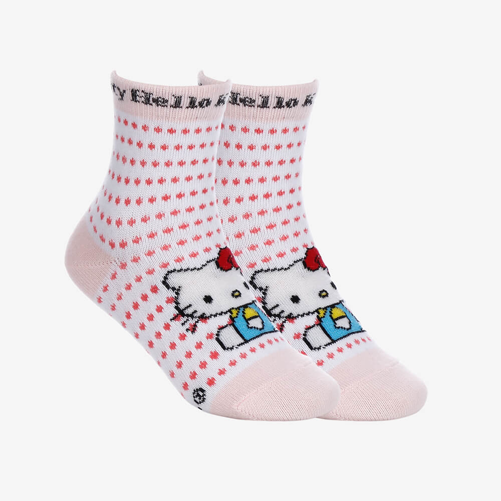 Kit 2 Pares de Meias Infantis Femininas Cano Longo Hello Kitty - Branco e Rosa -Tamanho 23 ao 27