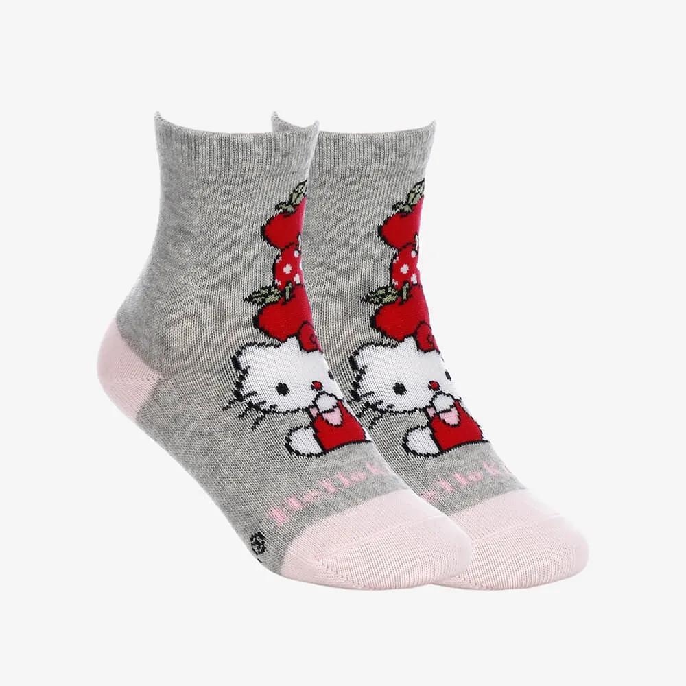 Kit 2 Pares de Meias Infantis Femininas Cano Longo Hello Kitty - Cinza com Rosa - Tamanho 19 ao 22
