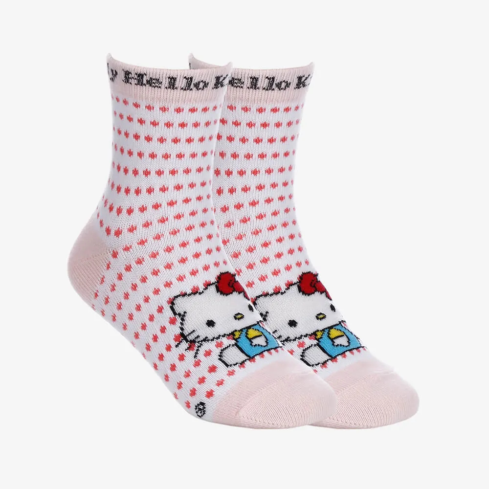 Kit 2 Pares de Meias Teen Femininas Cano Longo Hello Kitty - Branco e Rosa -Tamanho 28 ao 33