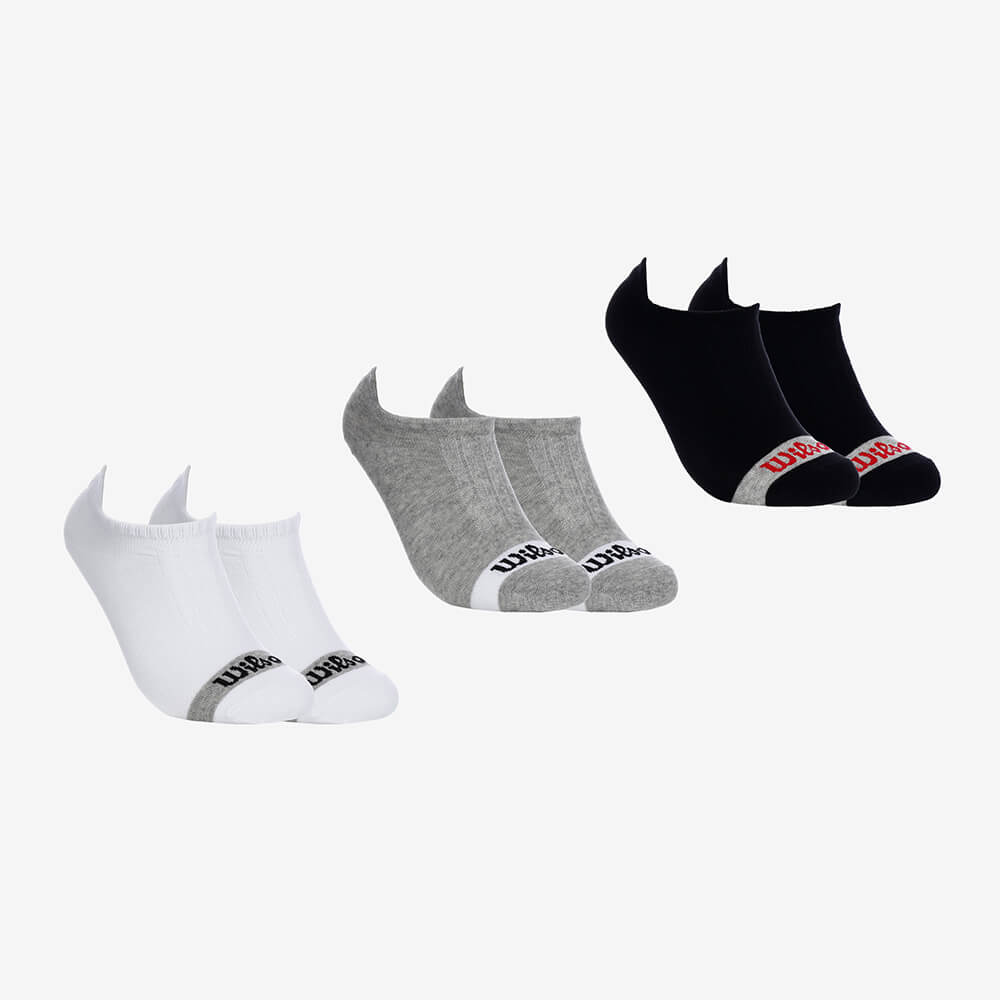 Kit 3 Pares de Meias Soquetes Masculinas Wilson - Branco/Cinza/Preto - Modelo 01 - Tamanho 39 ao 44