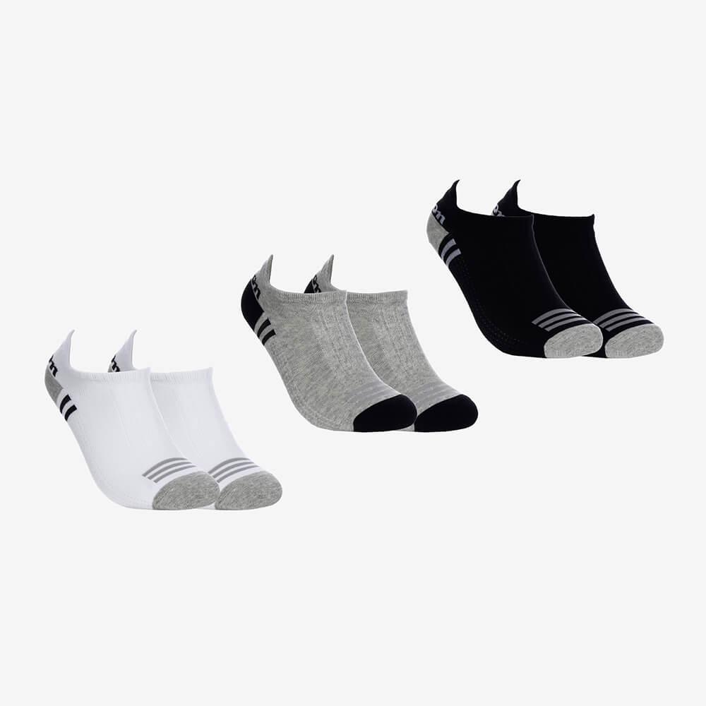 Kit 3 Pares de Meias Soquetes Masculinas Wilson - Branco/Cinza/Preto - Modelo 02 - Tamanho 39 ao 44