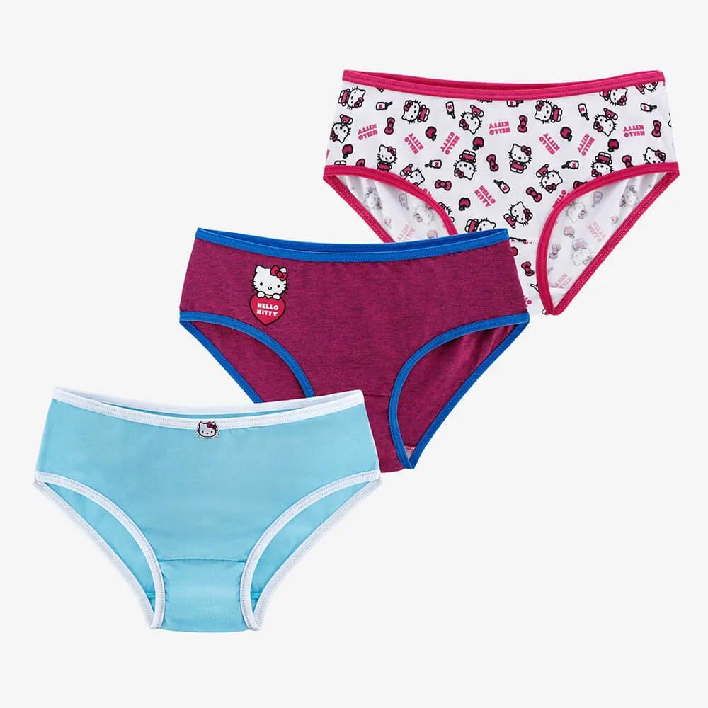 Kit com 3 Calcinhas Infantis Hello Kitty - Estampa Love - Tamanho 10